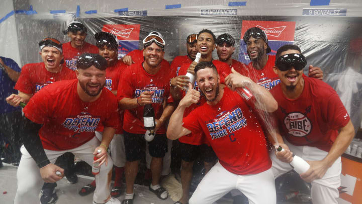 CLEVELAND, OH – SEPTEMBER 15: Cleveland Indians players celebrate in the locker room after the Indians defeated the Detroit Tigers 15-0 to clinch there American League Central Championship at Progressive Field on September 15, 2018 in Cleveland, Ohio. (Photo by David Maxwell/Getty Images)