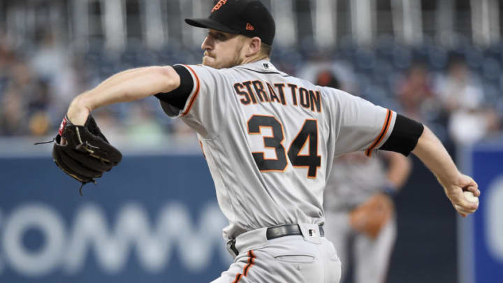 SAN DIEGO, CA - SEPTEMBER 19: Chris Stratton #34 of the San Francisco Giants pitches during the first inning of a baseball game against the San Diego Padres at PETCO Park on September 19, 2018 in San Diego, California. (Photo by Denis Poroy/Getty Images)