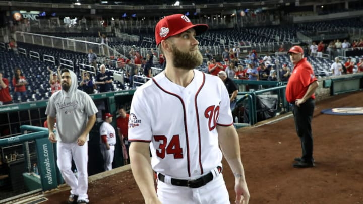 WASHINGTON, DC - SEPTEMBER 26: Bryce Harper #34 of the Washington Nationals looks around at the crowd following the Nationals 9-3 win over the Miami Marlins at Nationals Park on September 26, 2018 in Washington, DC. (Photo by Rob Carr/Getty Images)