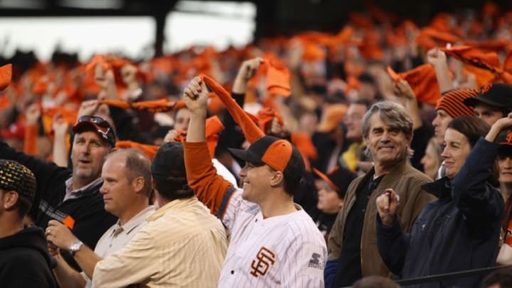 SF Giants fans get hyped. (Photo by Ezra Shaw/Getty Images)