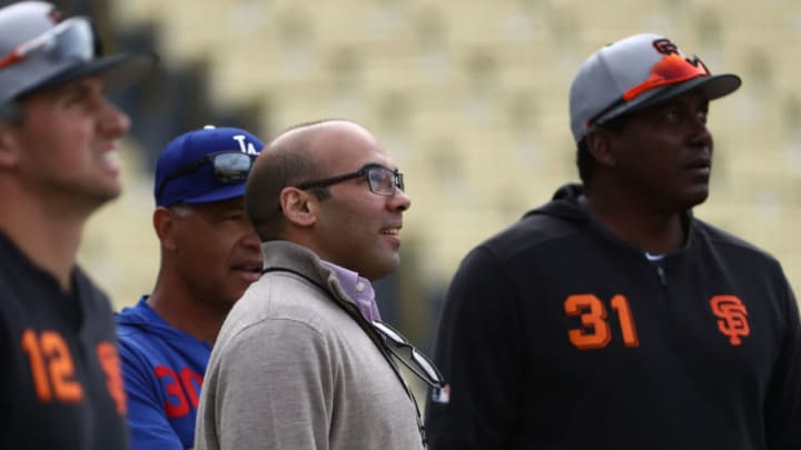 Hensley Farhan Zaidi of the SF Giants will oversee their 2020 MLB trade deadline. (Photo by Victor Decolongon/Getty Images)