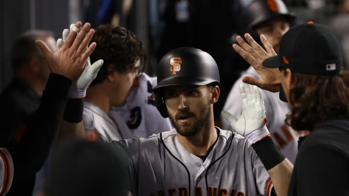 LOS ANGELES, CALIFORNIA – APRIL 03: Steven Duggar #6 of the San Francisco Giants celebrates with teammates in the dugout after hitting a solo home run in the fourth inning during the MLB game against the Los Angeles Dodgers at Dodger Stadium on April 03, 2019 in Los Angeles, California. (Photo by Victor Decolongon/Getty Images)