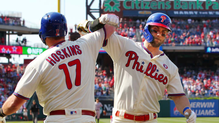 PHILADELPHIA, PA – MAY 18: Bryce Harper #3 of the Philadelphia Phillies is congratulated by Rhys Hoskins #17 after he hit a home run during the first inning of a game against the Colorado Rockies at Citizens Bank Park on May 18, 2019 in Philadelphia, Pennsylvania. (Photo by Rich Schultz/Getty Images)