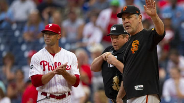 Former Giants Bruce Bochy and current Giants manager Gabe Kapler. (Photo by Mitchell Leff/Getty Images)