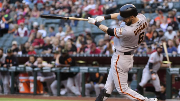 The SF Giants recalled outfielder Steven Duggar from the alternate site after placing Luis Basabe on the IL. (Photo by Jennifer Stewart/Getty Images)
