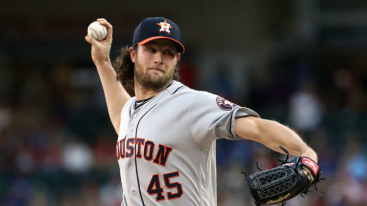 ARLINGTON, TEXAS - JULY 12: Gerrit Cole #45 of the Houston Astros throws against the Texas Rangers in the first inning at Globe Life Park in Arlington on July 12, 2019 in Arlington, Texas. (Photo by Ronald Martinez/Getty Images)