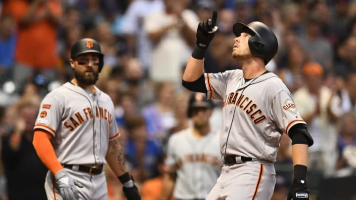 MILWAUKEE, WISCONSIN - JULY 12: Austin Slater #53 of the San Francisco Giants celebrates a two run home run against the Milwaukee Brewers during the fifth inning at Miller Park on July 12, 2019 in Milwaukee, Wisconsin. (Photo by Stacy Revere/Getty Images)