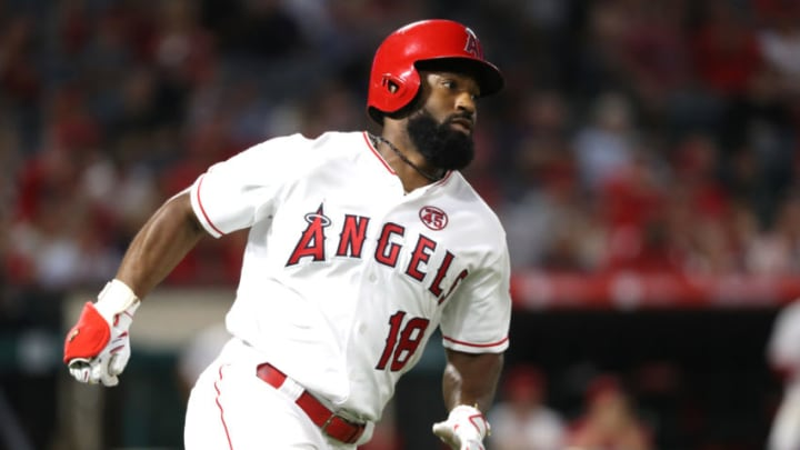 ANAHEIM, CALIFORNIA - JULY 18: Brian Goodwin #18 of the Los Angeles Angels of Anaheim runs to first base after hitting a triple during the ninth inning of a game against the Houston Astros at Angel Stadium of Anaheim on July 18, 2019 in Anaheim, California. (Photo by Sean M. Haffey/Getty Images)