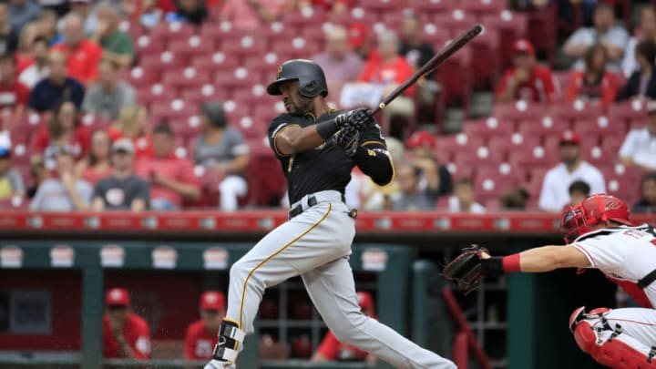 CINCINNATI, OHIO - JULY 30: Starling Marte #6 of the Pittsburgh Pirates hits a single in the first inning against the Cincinnati Reds at Great American Ball Park on July 30, 2019 in Cincinnati, Ohio. (Photo by Andy Lyons/Getty Images)