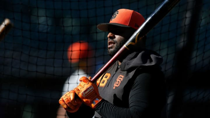 Pablo Sandoval of the San Francisco Giants during batting practice. (Photo by Lachlan Cunningham/Getty Images)