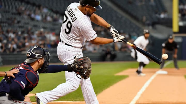 CHICAGO, ILLINOIS - AUGUST 28: Jose Abreu #79 of the Chicago White Sox hits a RBI double in the first inning against the Minnesota Twins at Guaranteed Rate Field on August 28, 2019 in Chicago, Illinois. (Photo by Quinn Harris/Getty Images)
