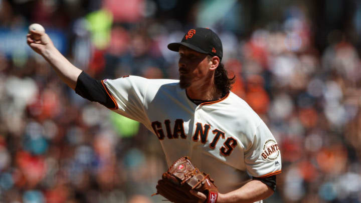 SAN FRANCISCO, CA - SEPTEMBER 01: Jeff Samardzija #29 of the San Francisco Giants pitches against the San Diego Padres during the first inning at Oracle Park on September 1, 2019 in San Francisco, California. The San Diego Padres defeated the San Francisco Giants 8-4. (Photo by Jason O. Watson/Getty Images)