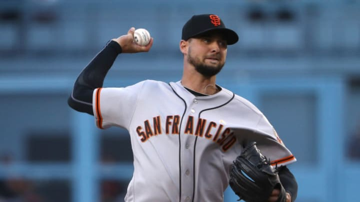Pitcher Tyler Beede #38 of the SF Giants pitches during the first inning of the MLB game against the Los Angeles Dodgers at Dodger Stadium on September 07, 2019 in Los Angeles, California. (Photo by Victor Decolongon/Getty Images)