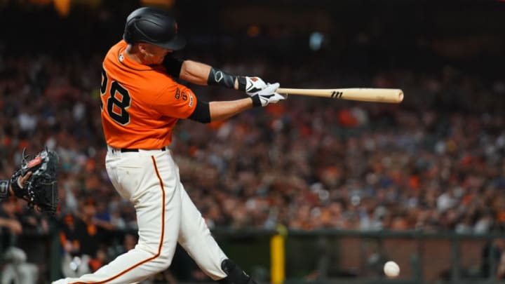 SAN FRANCISCO, CALIFORNIA - SEPTEMBER 13: Buster Posey #28 of the San Francisco Giants hits an RBI single during the sixth inning against the Miami Marlins at Oracle Park on September 13, 2019 in San Francisco, California. (Photo by Daniel Shirey/Getty Images)