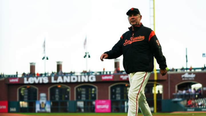 SAN FRANCISCO, CALIFORNIA - SEPTEMBER 24: Manager Bruce Bochy #15 of the San Francisco Giants walks to the dugout prior to the game against the Colorado Rockies at Oracle Park on September 24, 2019 in San Francisco, California. (Photo by Daniel Shirey/Getty Images)