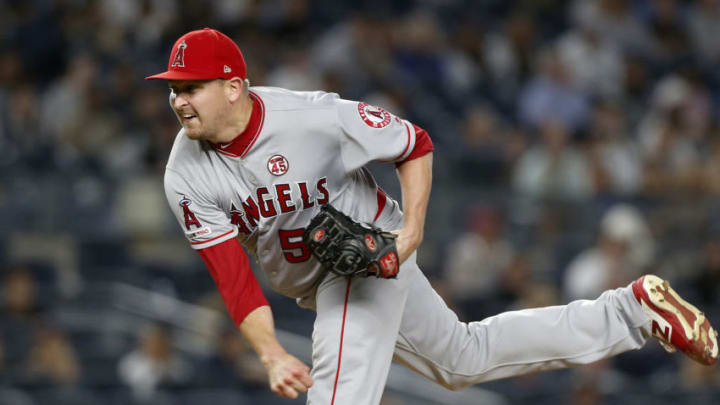 SF Giants starter Trevor Cahill, shown throwing for the Angels, was added to the roster. (Photo by Jim McIsaac/Getty Images)