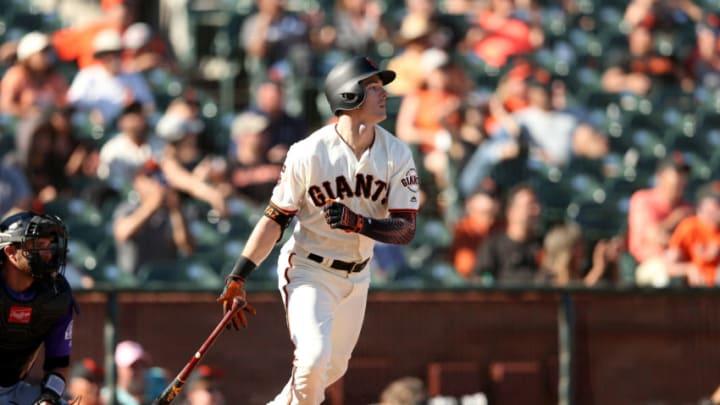Giants outfielder Mike Yastrzemski. (Photo by Ezra Shaw/Getty Images)