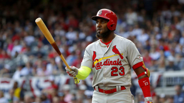 ATLANTA, GEORGIA - OCTOBER 09: Marcell Ozuna #23 of the St. Louis Cardinals in his second at bat of the first inning against the Atlanta Braves in game five of the National League Division Series at SunTrust Park on October 09, 2019 in Atlanta, Georgia. (Photo by Kevin C. Cox/Getty Images)