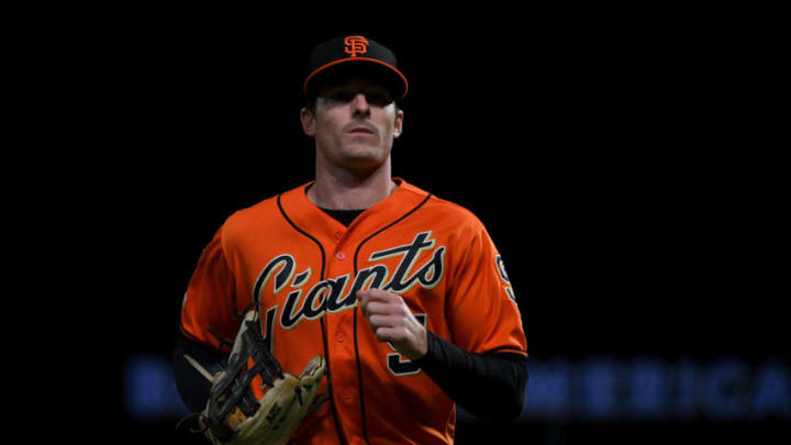 SAN FRANCISCO, CALIFORNIA - SEPTEMBER 27: Mike Yastrzemski #5 of the San Francisco Giants during their MLB game against the Los Angeles Dodgers at Oracle Park on September 27, 2019 in San Francisco, California. (Photo by Robert Reiners/Getty Images)