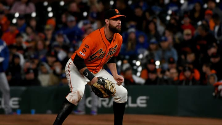 SF Giants first baseman Brandon Belt at Oracle Park. (Photo by Robert Reiners/Getty Images)