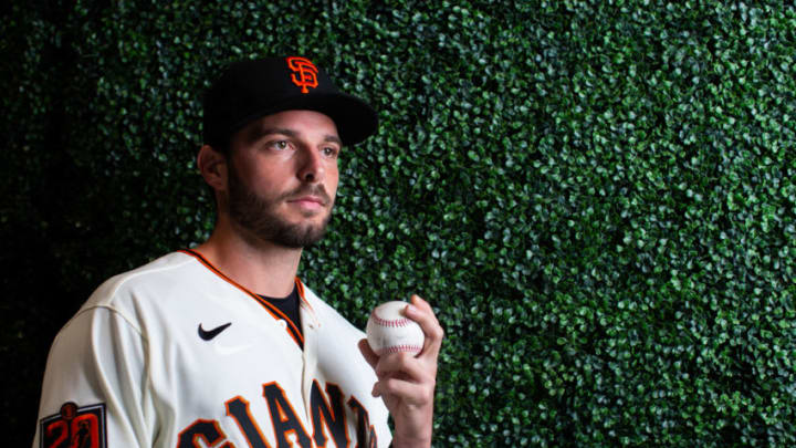 PHOENIX, AZ - FEBRUARY 18: Andrew Suarez #59 of the San Francisco Giants poses for a portrait at Scottsdale Stadium, the spring training complex of the San Francisco Giants on February 18, 2020 in Phoenix, Arizona. (Photo by Rob Tringali/Getty Images)