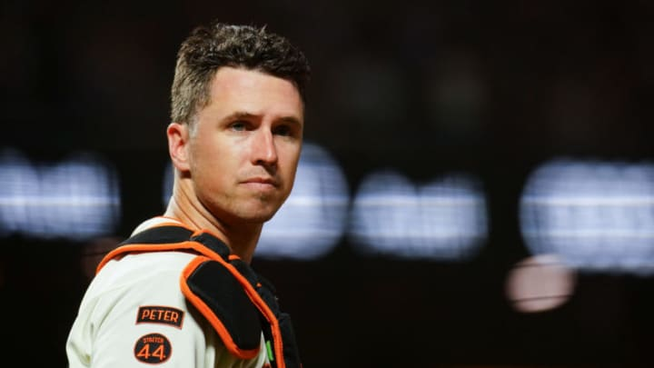 Buster Posey #28 of the San Francisco Giants looks on during a game. (Photo by Daniel Shirey/Getty Images)