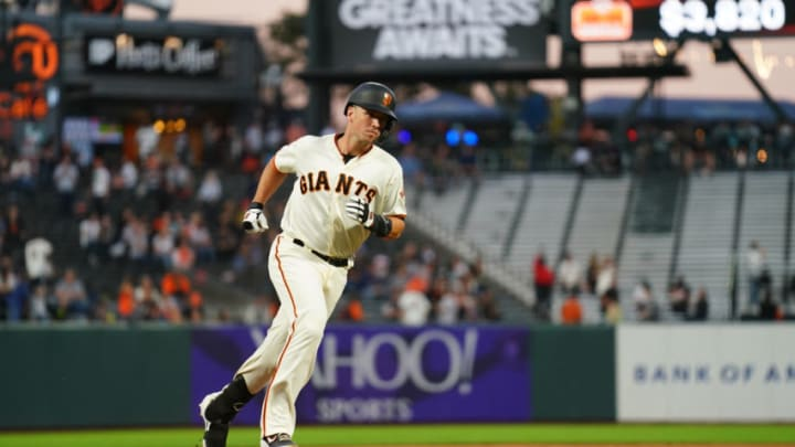 Buster Posey #28 of the San Francisco Giants rounds third base. (Photo by Daniel Shirey/Getty Images)