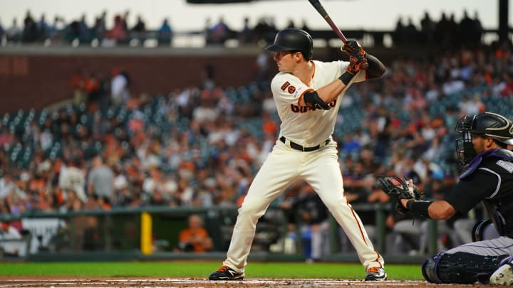 Mike Yastrzemski of the San Francisco Giants bats. (Photo by Daniel Shirey/Getty Images)