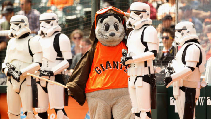 SAN FRANCISCO, CA - SEPTEMBER 04: San Francisco Giants mascot Lou Seal stands with Stormtroopers before their game against the Arizona Diamondbacks at AT&T Park on September 4, 2011 in San Francisco, California. (Photo by Ezra Shaw/Getty Images)