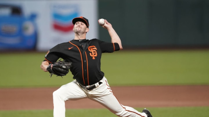 SF Giants left-handed reliever Sam Selman pitches against the Texas Rangers on August 1, 2020. (Photo by Thearon W. Henderson/Getty Images)