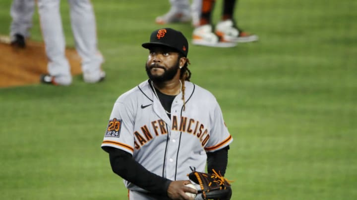 SF Giants starter Johnny Cueto walks off the field after giving up a home run. (Photo by Katelyn Mulcahy/Getty Images)