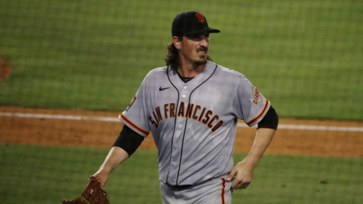 LOS ANGELES, CALIFORNIA - AUGUST 07: Jeff Samardzija #29 of the San Francisco Giants looks on after leaving the mound during the fifth inning against the Los Angeles Dodgers at Dodger Stadium on August 07, 2020 in Los Angeles, California. (Photo by Katelyn Mulcahy/Getty Images)