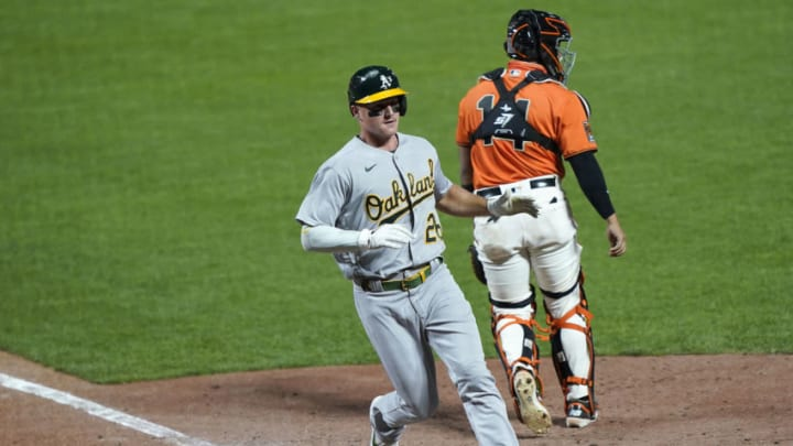 SAN FRANCISCO, CALIFORNIA - AUGUST 14: Matt Chapman #26 of the Oakland Athletics scores the go-ahead run against the San Francisco Giants in the top of the 10th inning at Oracle Park on August 14, 2020 in San Francisco, California. The Athletics won the game 8-7 in 10 innings. (Photo by Thearon W. Henderson/Getty Images)