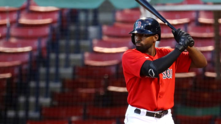 BOSTON, MASSACHUSETTS - SEPTEMBER 04: Jackie Bradley Jr. #19 of the Boston Red Sox at bat during the seventh inning against the Toronto Blue Jays at Fenway Park on September 04, 2020 in Boston, Massachusetts. The Blue Jays defeat the Red Sox 8-7. (Photo by Maddie Meyer/Getty Images)