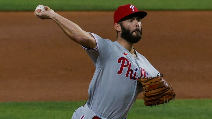 Jake Arrieta #49 of the Philadelphia Phillies might have been one of the best starters at one time but is a free-agent to avoid for the SF Giants this offseason. (Photo by Mark Brown/Getty Images)