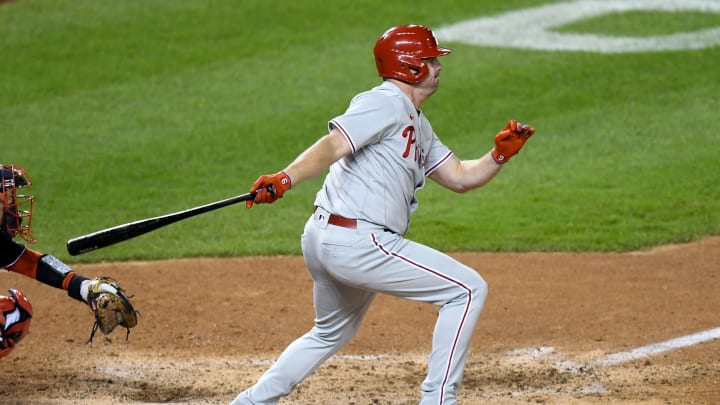 Jay Bruce #9 of the Philadelphia Phillies bats against the Washington Nationals during the second game of a doubleheader at Nationals Park on September 22, 2020. (Photo by G Fiume/Getty Images)