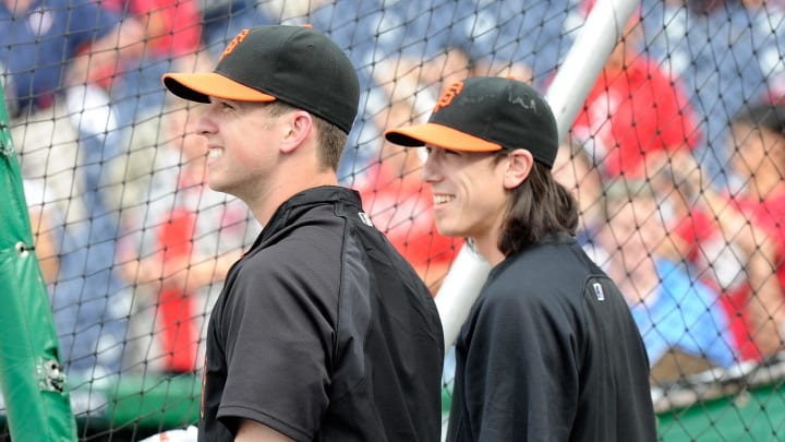 Buster Posey and Tim Lincecum. (Photo by Greg Fiume/Getty Images)