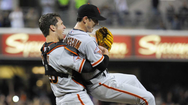 San Francisco Giants stars Buster Posey and Tim Lincecum. (Photo by Denis Poroy/Getty Images)