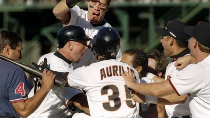 18 Sep 1997: The San Francisco Giants celebrate after Brian Johnson''s home run during the Giants 6-5 win over the Los Angeles Dodgers at 3Com Park in San Francisco, California. Mandatory Credit: Otto Greule /Allsport