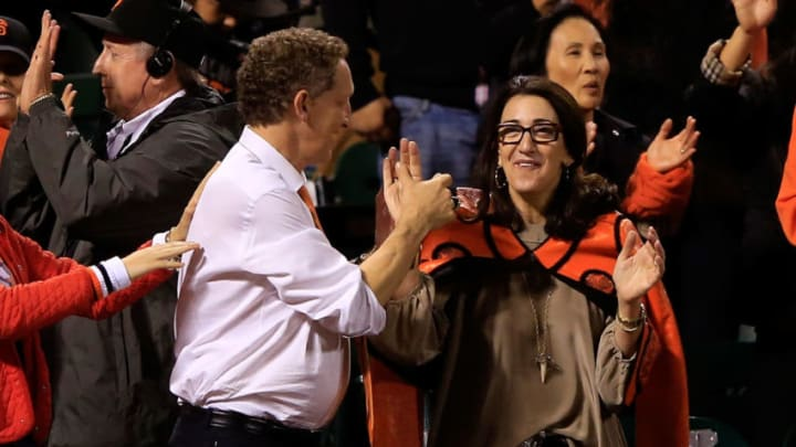 SAN FRANCISCO, CA - OCTOBER 25: Larry Baer the Chief Executive Officer of the San Francisco Giants and wife Pam Baer celebrate in the seventh inning against the Kansas City Royals during Game Four of the 2014 World Series at AT&T Park on October 25, 2014 in San Francisco, California. (Photo by Jamie Squire/Getty Images)