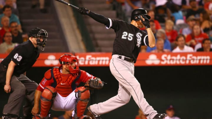 ANAHEIM, CA - AUGUST 20: Adam LaRoche #25 of the Chicago White Sox hits a single to right field in the fifth inning during the MLB game against the Los Angeles Angels of Anaheim at Angel Stadium of Anaheim on August 20, 2015 in Anaheim, California. The White Sox defeated the Angels 8-2. (Photo by Victor Decolongon/Getty Images)
