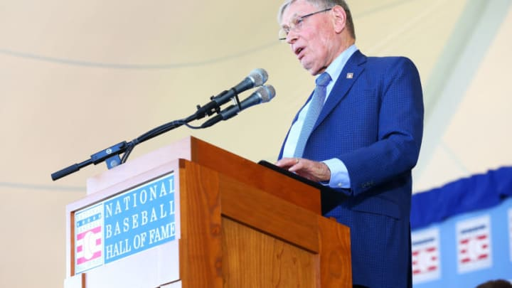 COOPERSTOWN, NY - JULY 30: Bud Selig gives his induction speech at Clark Sports Center during the Baseball Hall of Fame induction ceremony on July 30, 2017 in Cooperstown, New York. (Photo by Mike Stobe/Getty Images)