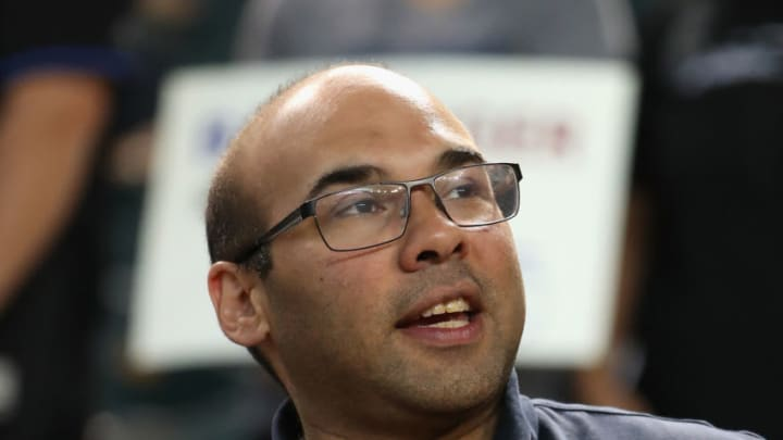 PHOENIX, AZ - AUGUST 09: General manager Farhan Zaidi of the Los Angeles Dodgers in the dugout before the MLB game against the Arizona Diamondbacks at Chase Field on August 9, 2017 in Phoenix, Arizona. (Photo by Christian Petersen/Getty Images)