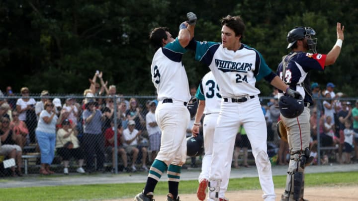 2019 SF Giants 1st-round pick, Hunter Bishop, right, celebrates with Michael Gasper of the Brewster Whitecaps during game one of the Cape Cod League Championship Series. (Photo by Maddie Meyer/Getty Images)