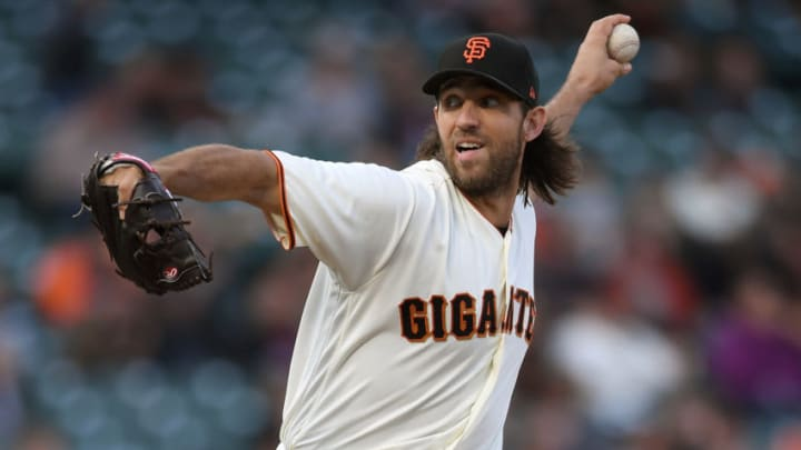 SAN FRANCISCO, CA - SEPTEMBER 16: Madison Bumgarner #40 of the San Francisco Giants pitches against the Arizona Diamondbacks in the top of the first inning at AT&T Park on September 16, 2017 in San Francisco, California. (Photo by Thearon W. Henderson/Getty Images)