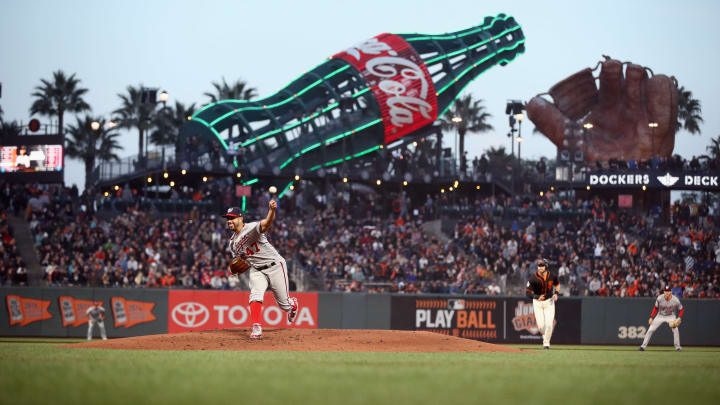 SAN FRANCISCO, CA – APRIL 23: Gio Gonzalez #47 of the Washington Nationals pitches against the San Francisco Giants in the second inning at AT&T Park on April 23, 2018 in San Francisco, California. (Photo by Ezra Shaw/Getty Images)