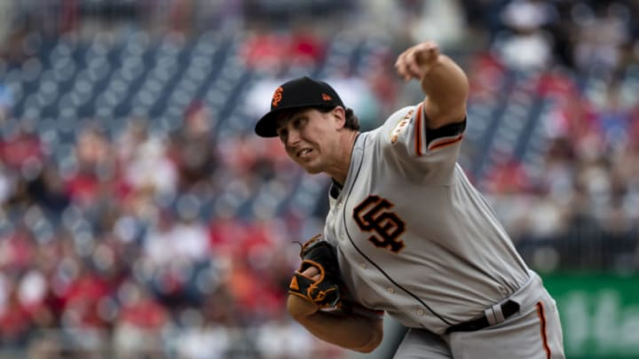 WASHINGTON, DC - JUNE 10: Derek Holland #45 of the San Francisco Giants pitches against the Washington Nationals during the second inning at Nationals Park on June 10, 2018 in Washington, DC. (Photo by Scott Taetsch/Getty Images)