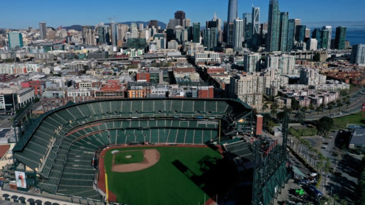 SF Giants empty Oracle Park. (Photo by Justin Sullivan/Getty Images)