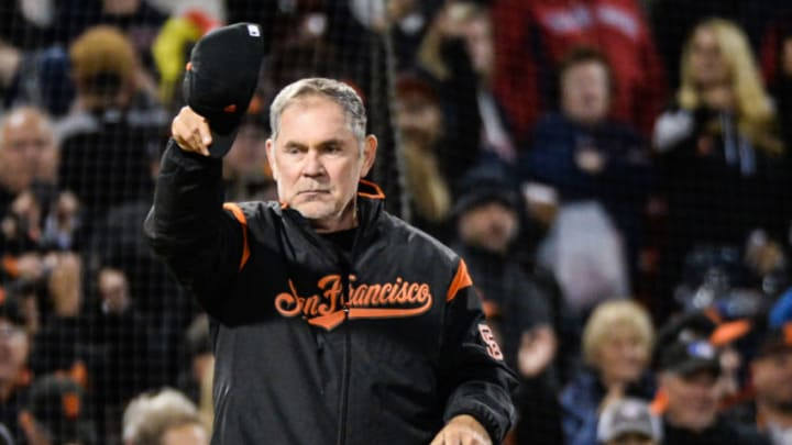 SF Giants manager Bruce Bochy reacts as he reached his 2,000th career win. (Photo by Kathryn Riley/Getty Images)