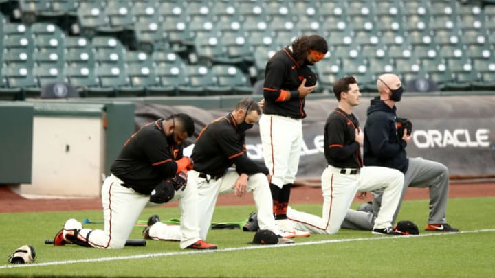 SF Giants during the national anthem. (Photo by Ezra Shaw/Getty Images)
